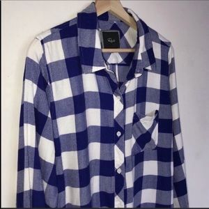 Rails Anthropologie Blue Buffalo Plaid Shirt M